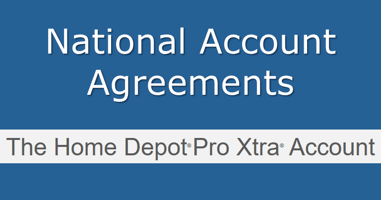 National Account Agreement code for rebates at Home Depot
