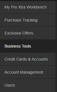 Access business tools menu on your Home Depot Pro Xtra Loyalty Program