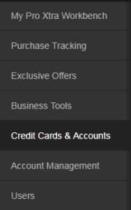 Credit Cards Accounts menu at Home Depot Pro Xtra