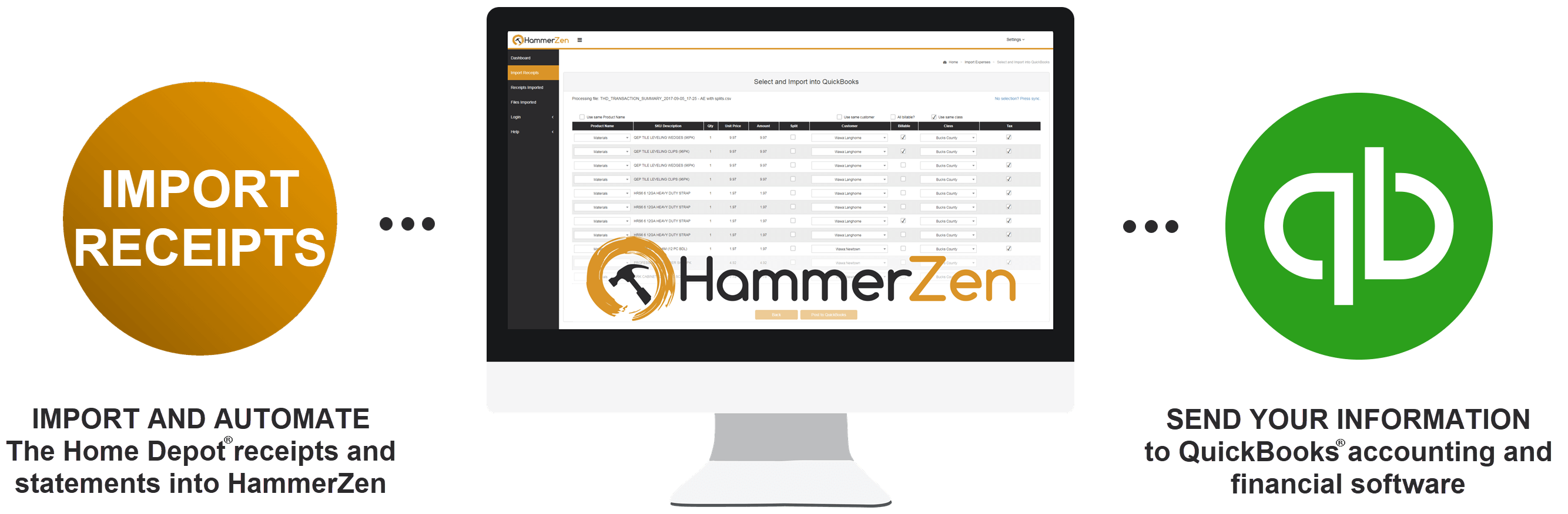 HammerZen Process to import Home Depot into QuickBooks